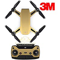 SopiGuard 3M Brushed Gold Precision Edge-to-Edge Coverage Vinyl Sticker Skin Controller 3 x Battery Wraps for DJI Spark