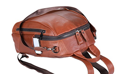 Purse Mini ipad Fashion Backpack phone ANNA Shoulder Leather Rucksack for leather Casual Notebook Brown FB5 QUEEN Bag Women nFqHxFRYv1