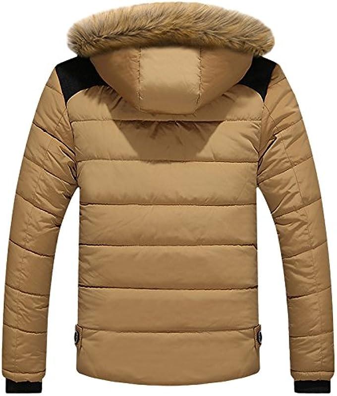 LEOCLOTHO Męska pikowana kurtka bawełniana, wyściełana, pogrubiony płaszcz, bluza z kapturem, odzież wierzchnia: Odzież