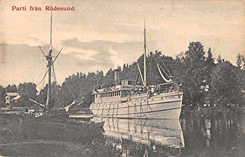 Rodesund Sweden Ship on River Scenic View Antique Postcard J69511