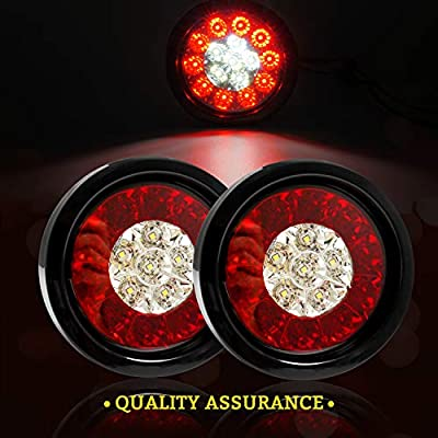 4'' Inch Round LED Truck/Trailer White / Red Taillights with Rubber Grommet 16LED DC 12V Waterproof Stop Brake Running Reverse Backup Lights Tail Lamps for RV Trailer(Pack of 2) (2 Red/White Lights): Automotive