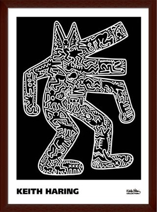 ポスター キース ヘリング Dog 1985 額装品 ウッドベーシックフレーム(ブラウン) B071X4998L ブラウン ブラウン