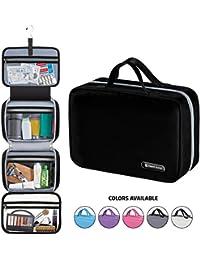 "Hanging Travel Toiletry Bag for Men and Women | Makeup Bag | Cosmetic Bag | Bathroom and Shower Organizer Kit | Leak Proof | Large (34""x11"") | Black"