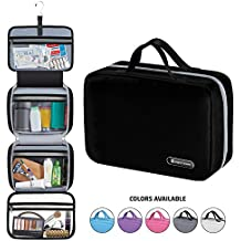 """Premium Hanging Toiletry Bag Travel Kit for Men and Women   Large (34""""x11"""")   Leak Proof   Clear Pockets   Detachable Compartment    Makeup Bag   Cosmetic Bag   Black"""