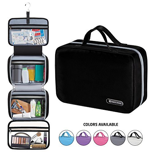 "Hanging Travel Toiletry Bag for Men and Women | Makeup Bag | Cosmetic Bag | Bathroom and Shower Organizer Kit | Leak Proof | 2 Sizes - Large (34""x11"") & XL Family Size (42""x13"")"