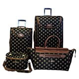 American Flyer Fleur De Lis 4-Piece Luggage Set, Black