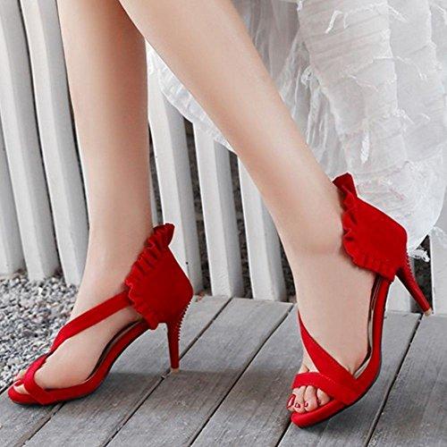 TAOFFEN Aiguille Ouvert Femmes Croisée Red Sandales Chaussures Froufrou Talon 1 Sangle Bout à rFwrZ