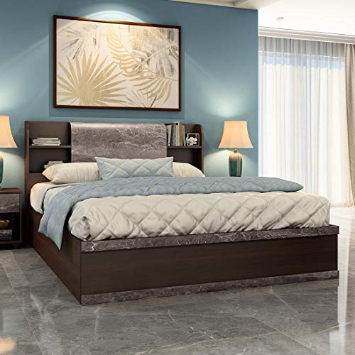 Durian Morris Queen Size Engineered Wood Bed with Hydraulic Storage  Brown ,  Model: Morris I/QB