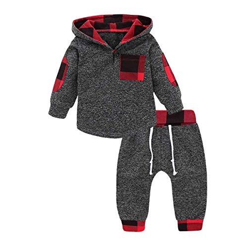 Baby Gund Halloween (GObabyGO Infant Toddler Boys Girls Sweatshirt Set Winter Fall Clothes Outfit 0-3 Years Old,Baby Plaid Hooded Tops Pants (Gray, 6-12)