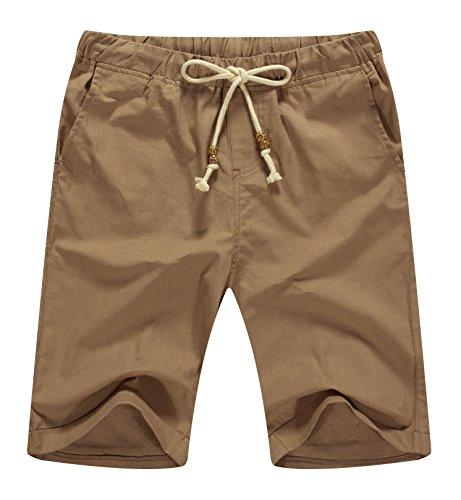 NITAGUT Men's Linen Casual Classic Fit Short (M(US 35-37), 03 Dark (Men Summer Shorts)