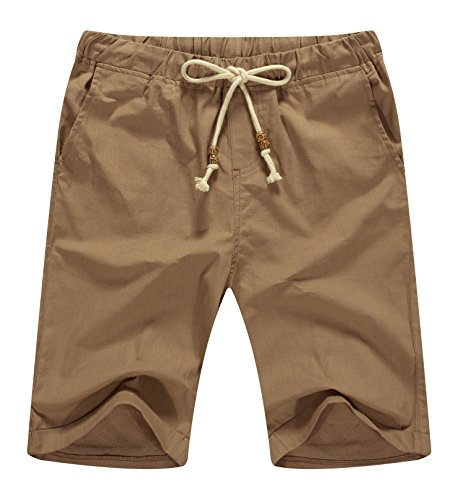 NITAGUT Men's Linen Casual Classic Fit Short (M(US 35-37), 03 Dark Khaki)