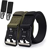 TEUVO 2 Pcs Tactical Belts for Men, Military Utility Belt with Magnetic Quick Release Buckle for Heavy Duty an