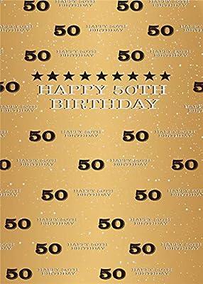 5X7ft Oro 50º Cumpleaños Fotografía Telón de Fondo Paso y repetición Brillo Dorado Brillante Fondo Cuarenta años de Edad Ancianos Decoración de Fiesta ...