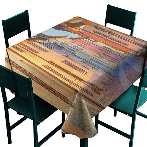Sunnyhome Spillproof Tablecloth Italy Narrow Paves Street Among Old Houses in Town Serralunga DAlba Piedmont for Banquet Decoration Dining Table Cover 60x60 Inch Pale Orange Brown Pink