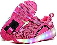 Ufatansy Roller Shoes Girls Kids LED Light up Shoes Wheels Roller Skate Shoes Skateboarding Fashion Boys Sneak