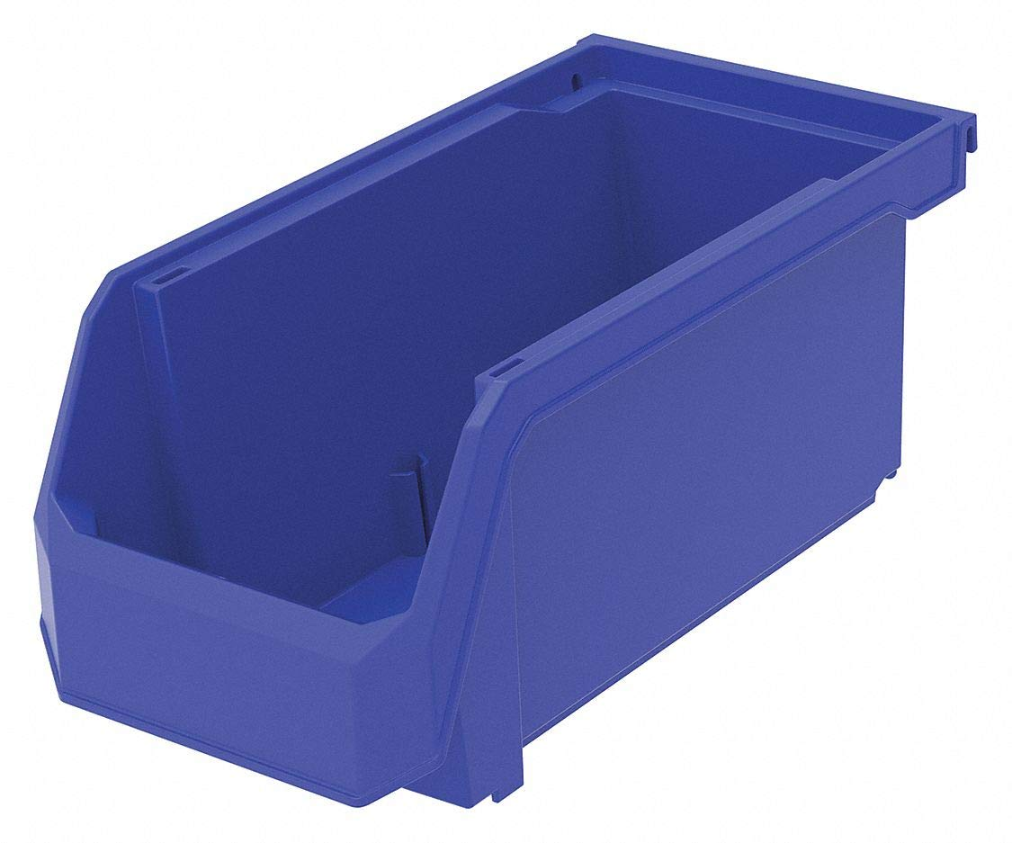 Hang and Stack Bin, Blue, 11'' Outside Length, 5-1/2'' Outside Width, 5'' Outside Height pack of 5