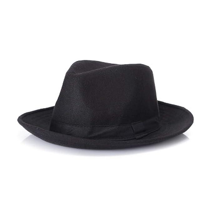 Wool Men Black Fedora Hat for Women s Wool Wide Brim JazzChic Cap Vintage  Panama Sun Top Hat fdd2250cc5e3