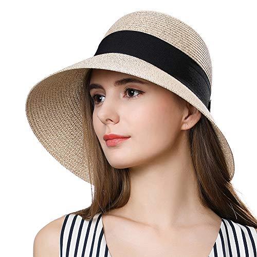 Packable Straw Fedora Sun Panama Beach Cloche Hat for Large Head Women Floppy Beige 58-59cm
