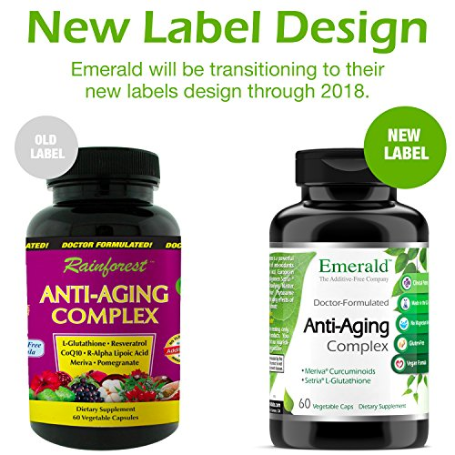 51AOrAR6EEL - Anti-Aging Complex - with L-Glutathione, Resveratrol, CoQ10, R-Alpha Lipoic Acid, Meriva, Pomegranate, & More - Emerald Laboratories (Rainforest) - 60 Vegetable Capsules