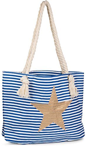 Blue white star styleBREAKER 02012037 sling Blue look ladies bag striped shopper with Color White beach Gold bag Gold ZwnavZXrq