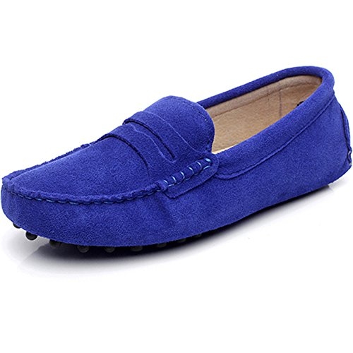 rismart Women's Classic Suede Driving Loafers Shoes Soft Leather Moccasin Slippers Royal Blue 24208 US8.5 - Classic Suede Loafers