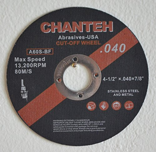 "4-1/2"" x .040"" x 7/8"" CUT-OFF WHEELS for Stainless Steel &.Metal Cutting Disc ( 25 PACK )"