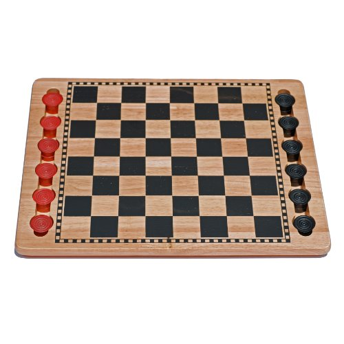 WE Games Solid Wood Checkers Set - Red & Black Traditional Style with Grooves for Wooden ()