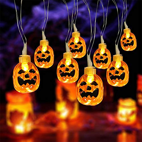 Halloween String Lights, 13 Feet 30 LED 3D Jack-O-Lantern Pumpkin Lights with Remote Timer 8 Modes Battery Operated Outdoor Indoor Halloween Lights, Warm White