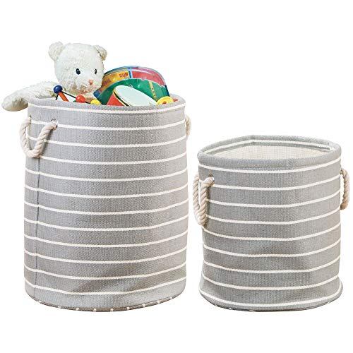 Gray Soft Toy - mDesign Decorative Round Soft Fabric Toy Storage Organizer Basket Bin, Rope Handles - for Kid, Toddler, Baby Room, Nursery, Playroom - Folds Flat for Compact Storage - Set of 2, 2 Sizes - Gray/Cream