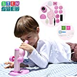 Donzy Take Apart Microscope Toy - Educational DIY STEM Microscope for Preschoolers with Assemable Parts, 15X Science Microscope Take Apart Toy with 5 Prepared Slides for 4-8 Year Old Kids (Pink)