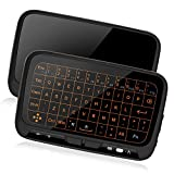 Ilebygo 2.4Ghz Mini Wireless Keyboard,Backllit Full Screen Mouse Touchpad Combo,Rechargeable Remote Control for PC,Android Tv Box,HTPC.IPTV,PS3,Pad,
