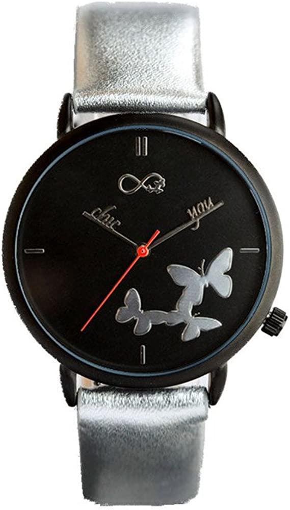 Reloj de Mujer Butterfly Glitter by Chic You: Correa de Piel Genuina Brillante Chic, con Esfera de Fondo Negro, manecillas Personalizadas Chic You y Mariposas e índices en Relieve Efecto Espejo