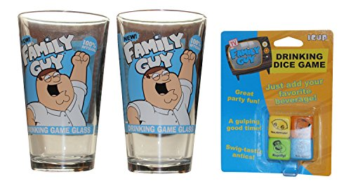 Family Guy Drinking Game with Two Family Guy Pint Glasses