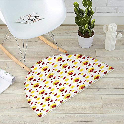 (Ladybugs Half Round Door mats Summer Season Inspired Sun Pattern Bugs Animal Imagery Cartoon Characters Bathroom Mat H 35.4