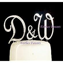 Set of 3 Large Gorgeous Real Rhinestone Monogram Letters Wedding Cake Topper A B C D E F G H I J K L M N O P R S T U V W