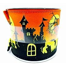 "Jo-ann's Halloween Ribbon,pumpkins,graveyard,spiders,glitter,wire Edge,2.5""x12ft. (Haunted House/Graveyard)"