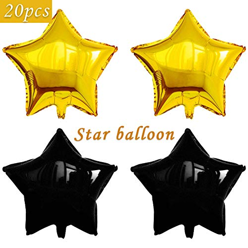 (20 pcs Star Shape Foil Mylar Balloons,18 Inch Pentagram Balloon For Birthday Party & Wedding Decoration (Black/Gold))