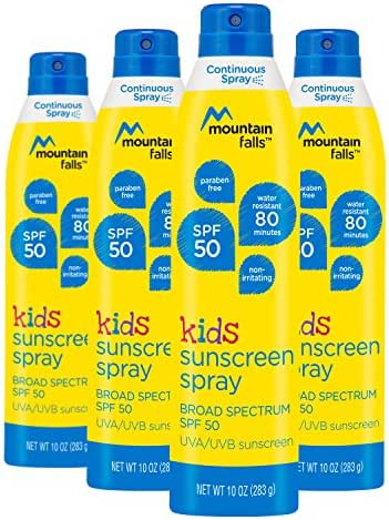 Mountain Falls Kids Sunscreen Continuous Spray, SPF 50 Broad Spectrum UVA/UVB Protection, 10 Fluid Ounce (Pack of 4)