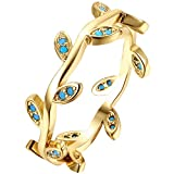 LWLH Jewelry Womens 18K Yellow Gold Plated Nano Turquoise Leaves Ivy Leaf Branch Laurel Tree Vine Ring