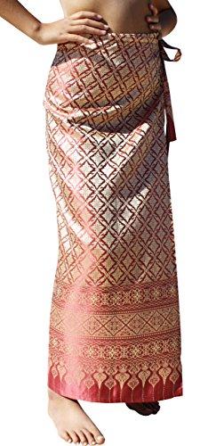 RaanPahMuang Brand Full Star Line Motif Thailand Silk Wrap Skirt Thai Formal Sarong, Medium, LightCoral - - Skirt Wrap Blend