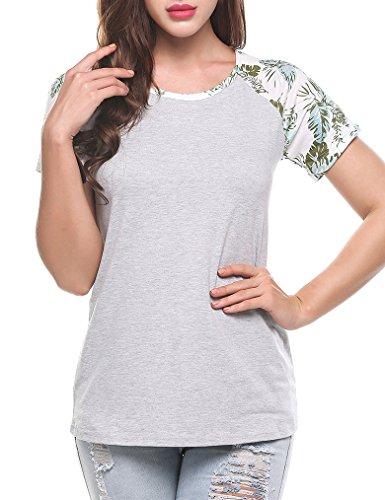 Naggoo Women's Floral Printed Short Sleeve Raglan Tee Baseball Jersey Tshirt Casual Tops