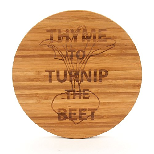(Cutting Board Company Round Bamboo Cutting Board, Thyme to Turnip the Beet)