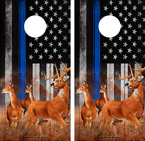 Speed Demon Hot Rod Shop Cornhole Board Wraps ~ Deer Nature Scene Bucks and Does Thin Blue LINE in a Subdued American Flag Corn Hole Boards Laminated Decal Wraps (Set of 2) #04