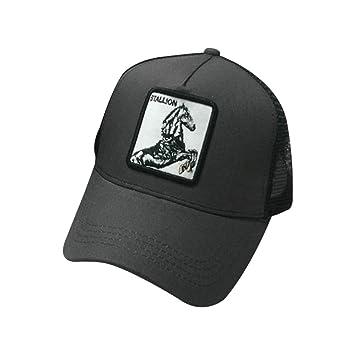 chenpaif Hombres Mujeres Parejas Gorra de béisbol de Verano Animales Parche Bordado Hip Hop Malla Patchwork Ajustable Snapback Trucker Hat 7# Caballo ...