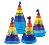 kids party cone hats - 12-Pack Happy Birthday Party Hats - Large Cone Hats for Birthday, Celebrations, Events, Decorative Novelty, Birthday Party Supplies, Multicolor, 6.5 x 9.5 x 6.5 Inches