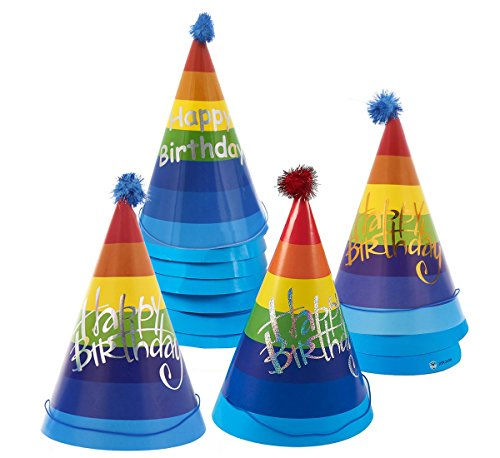 12-Pack Happy Birthday Party Hats - Large Cone Hats for Birthday, Celebrations, Events, Decorative Novelty, Birthday Party Supplies, Multicolor, 6.5 x 9.5 x 6.5 Inches