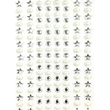 AllyDrew 164 pieces Crystal Star and Pearl Stickers Adhesive Rhinestones, Silver