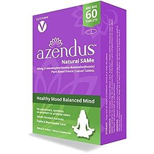 Azendus SAM-e Mood Support 400mg, 60 Count, SAMe Butanedisulfonate Fiber Enteric Coated…
