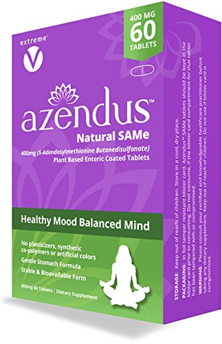 Azendus SAM-e Mood Support 400mg, 60 Count, SAMe Butanedisulfonate Fiber Enteric Coated tablets, Physician Trusted, #1 Recommended Active Form (Dietary Plus Same Tablets Supplement)