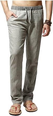 pantalon lin coupe large homme